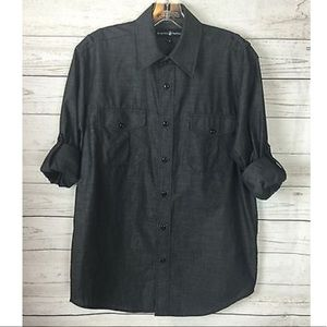 Beverly Hills Polo Club Black Button Down Top